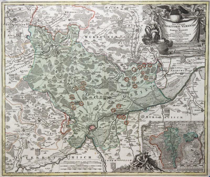 Ulm Environment Original Copperplate Map Homann 1730 eBay