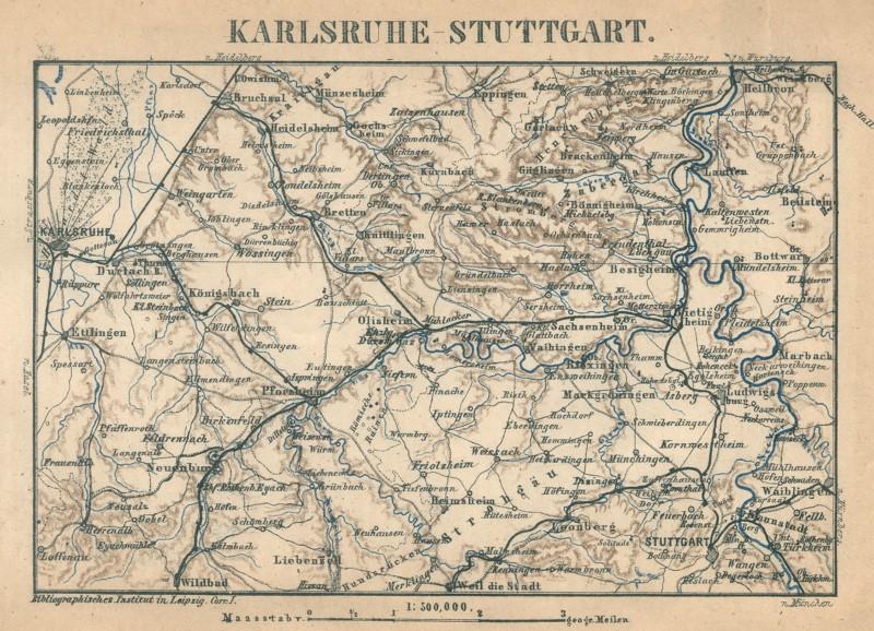 Karlsruhe Karte Umgebung.Details Zu Karlsruhe Stuttgart Umgebung Original Lithografie Landkarte Bibl Inst 1875