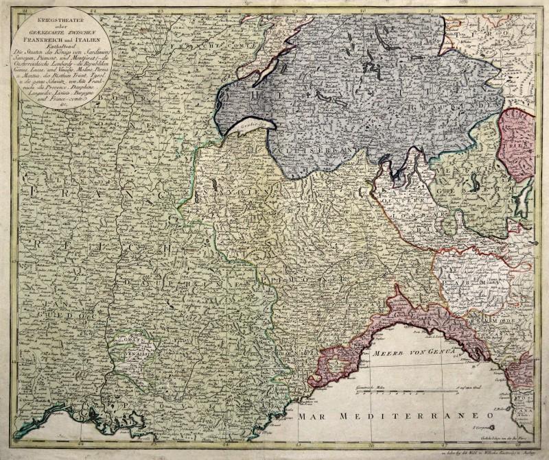 Cartina Geografica Sicilia Sud Orientale.Italia Francia Svizzera Originale Incisione Cartina Geografica Walch 1792 Ebay
