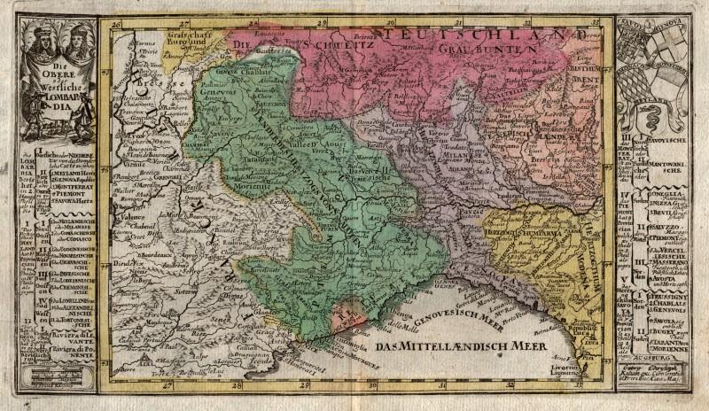 Cartina Lombardia E Piemonte.Lombardia Piemonte Originale Incisione Cartina Geografica Kilian 1760 Ebay
