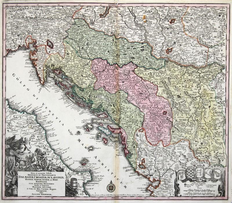 Cartina Geografica Slovenia Croazia Bosnia.Bosnia Croazia Serbia Originale Incisione Cartina Geografica Seutter 1742 Ebay