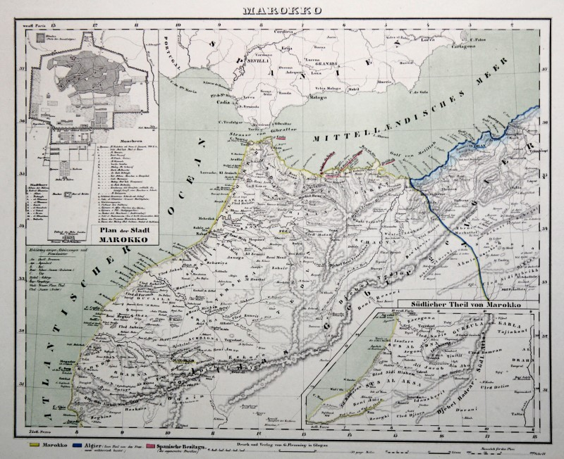Cartina Marocco Politica.Marocco Originale Litografia Cartina Geografica Flemming 1861 Ebay