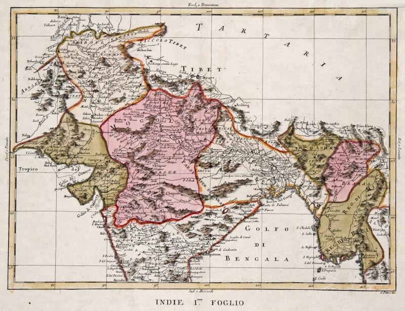 India Politica Cartina.India Bangladesh Myanmar Originale Incisione Cartina Geografica Zatta 1785 Ebay