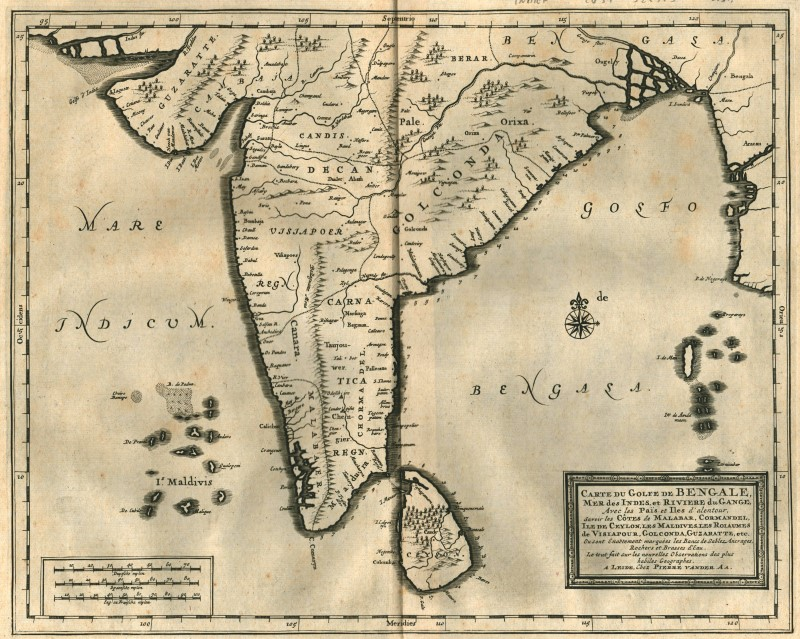 India Meridionale Cartina Geografica.India Del Sud Ceylon Originale Incisione Cartina Geografica Mandelslo 1727 Ebay