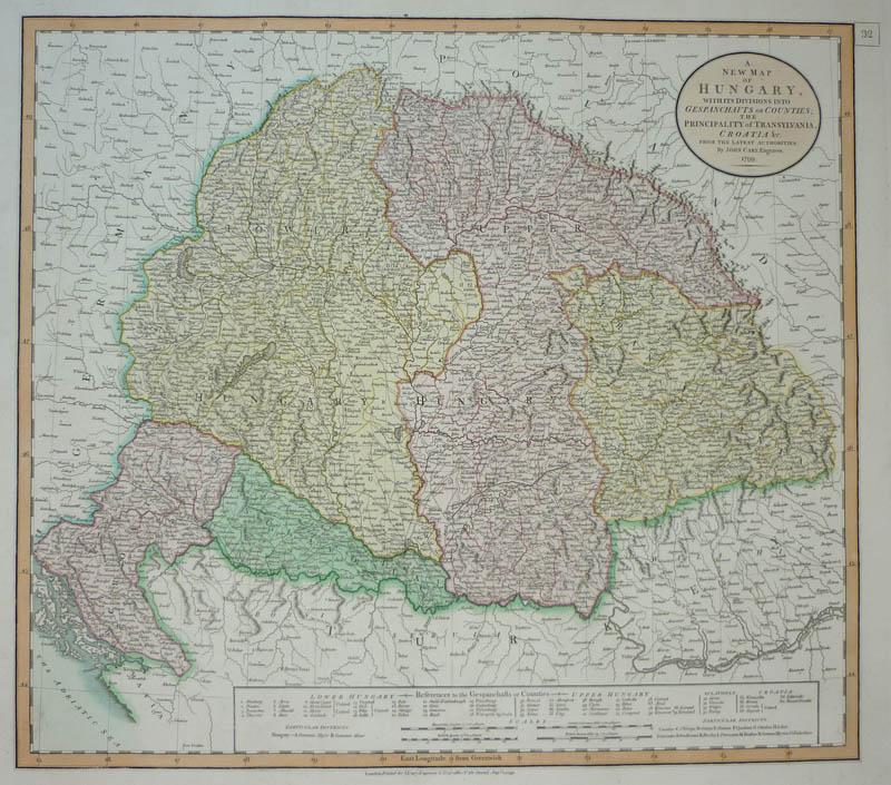 Cary Vecchio Colore Incisione Cartina Geografica Ungheria