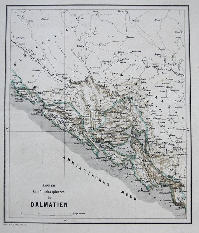 Kotor Montenegro Karte.Details About Koke Color Lithography Map Bay Of Kotor Montenegro Dalmatia Balkan 1869