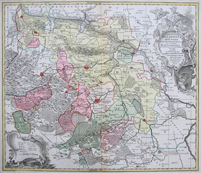 Seutter Orig Altkol Kupferstich Landkarte Halberstadt Sachsen
