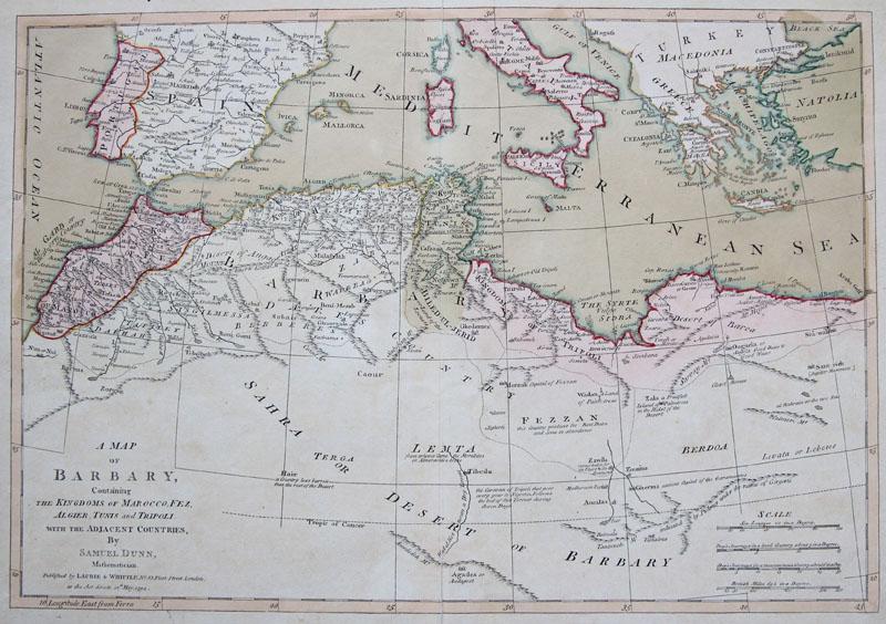 Cartina Geografica Marocco.Dunn Orig Altkol Incisione Cartina Geografica Nordafrika
