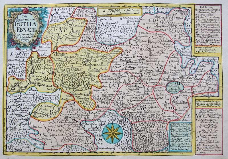 La Germania Cartina Geografica.Dettagli Su Schreiber Originale Altkol Incisione Cartina Geografica Turingia Germania