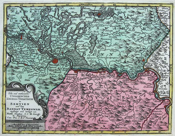Seutter Originale Incisione Cartina Geografica Banat Temeswar