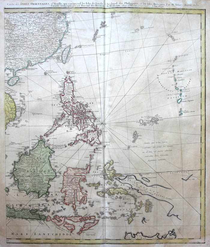 Homann Original Altkol Copperplate Map India Indonesia - Map of united provinces india