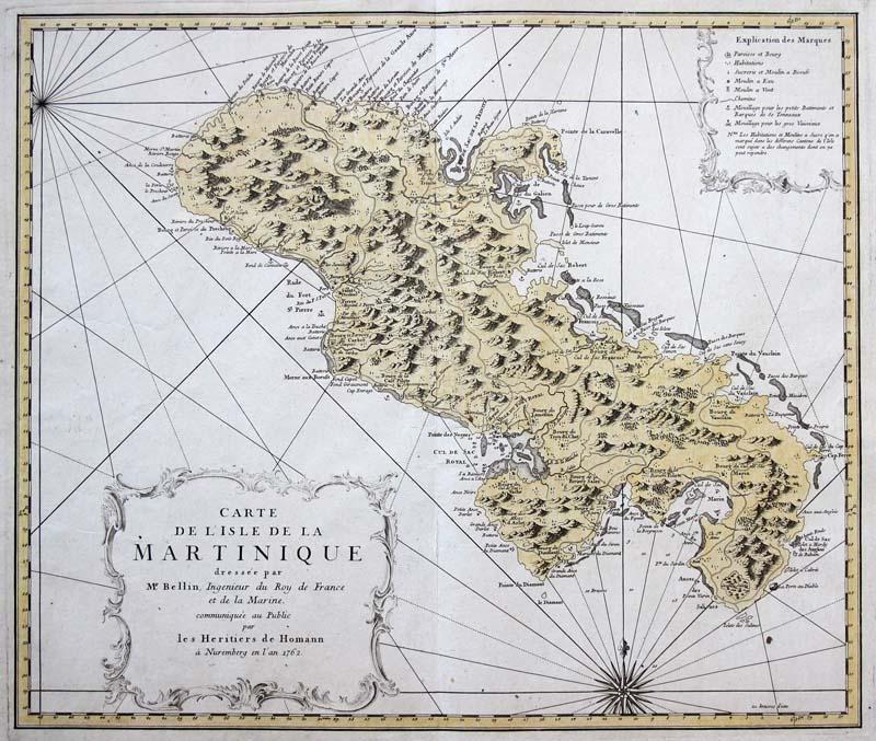 Kleine Antillen Karte.Details Zu Homann Original Altkol Kupferstich Landkarte Martinique Karibik Antillen 1762