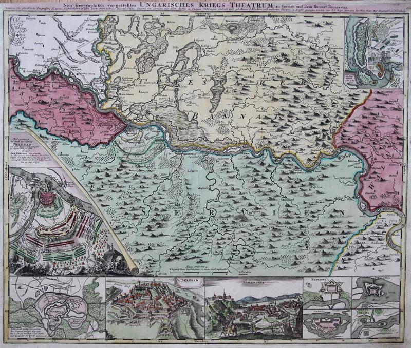 Homann Originale Incisione Cartina Geografica Belgrado Serbia Banat