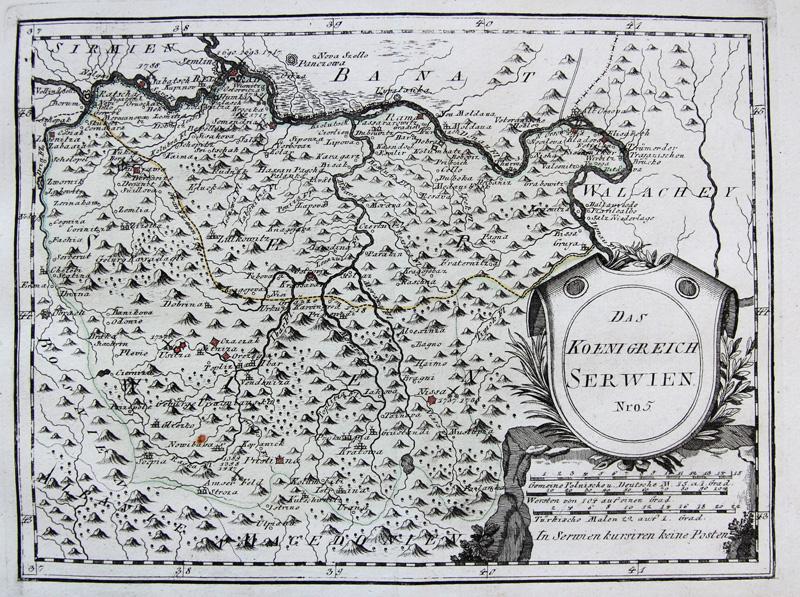 Original 1789 Serbien Reilly Altkol Serbien Balkan Landkarte