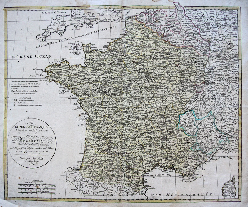 Francia Cartina Geografica.Dettagli Su Walch Originale Altkol Incisione Cartina Geografica Francia Napoleon Renania