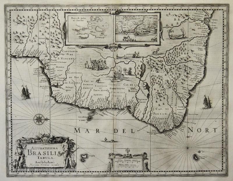 Details about Hondius: Original Copperplate Map Brazil Brasil America  America; 1633